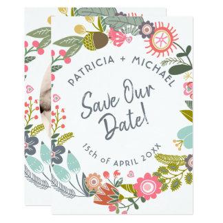 Frühlingshochzeitswiesen-Blüten-Foto retten Datum Karte