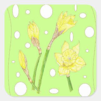 Frühlingsregen - blühende Narzissen Quadratischer Aufkleber