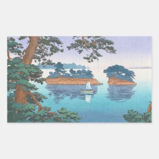 Frühlingsregen, Matsushima japanische waterscape Rechtecksticker