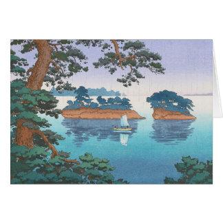 Frühlingsregen, Matsushima japanische waterscape Mitteilungskarte