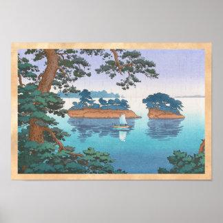 Frühlingsregen, Matsushima japanische waterscape Posterdrucke