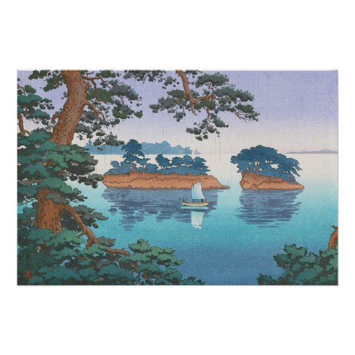 Frühlingsregen, Matsushima japanische waterscape Poster