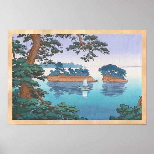 Frühlingsregen, Matsushima japanische waterscape Plakate