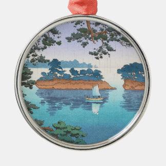 Frühlingsregen, Matsushima japanische waterscape Rundes Silberfarbenes Ornament