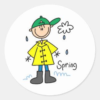 Frühlingsregen Runder Aufkleber