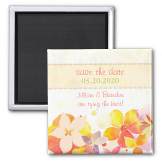 Frühlingwatercolor-Blumen, die Save the Date Quadratischer Magnet