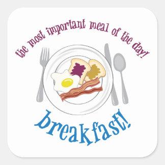 Frühstück! Quadrataufkleber