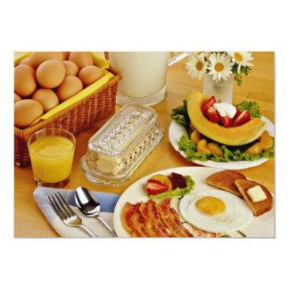 Frühstück des Speckes, Eier und Krug Milch fließen 12,7 X 17,8 Cm Einladungskarte