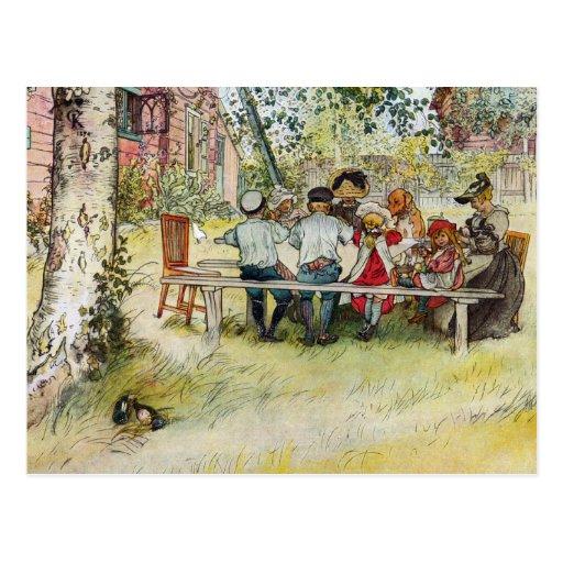 Frühstück unter der großen Birke durch Carl Postkarte