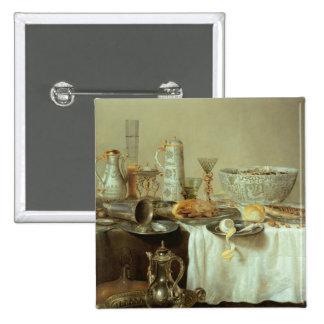 Frühstücks-Stillleben, 1638 Quadratischer Button 5,1 Cm