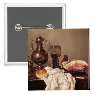 Frühstücks-Stillleben (Öl auf Platte) Quadratischer Button 5,1 Cm