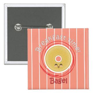 Frühstückszeit - Bagel Quadratischer Button 5,1 Cm