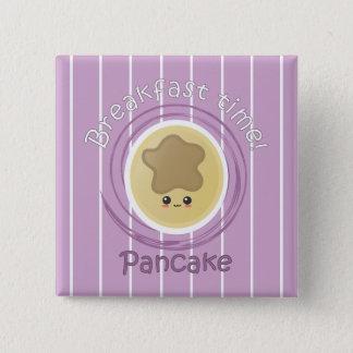 Frühstückszeit - Pfannkuchen Quadratischer Button 5,1 Cm