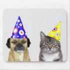Frustrierter Hund und Katze mit Partyhütchen Mousepad