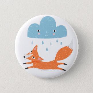 Fuchs mit Regenwolke Runder Button 5,1 Cm