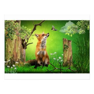 Fuchs und der Summenvogel Postkarte