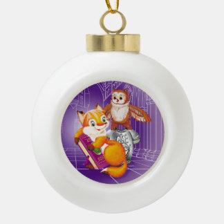 Fuchs und Eule Keramik Kugel-Ornament
