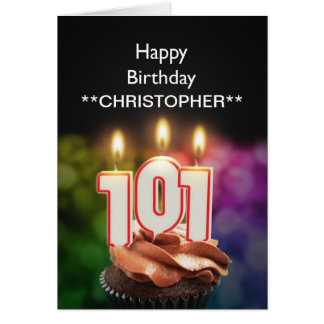 Fügen Sie einen Namen Kerzen dieser 101. Grußkarte