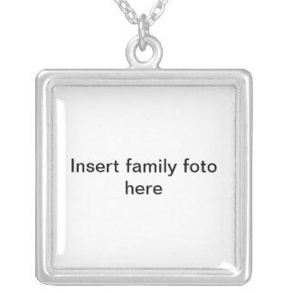 Fügen Sie Familie foto hier ein Halskette Mit Quadratischem Anhänger