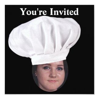 Fügen Sie Ihr Foto einem Kochs-Hut hinzu Quadratische 13,3 Cm Einladungskarte