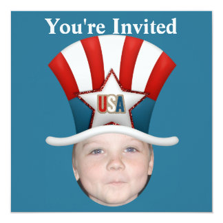 Fügen Sie Ihr Foto USA-Sterne hinzu u. Stripes Hut Quadratische 13,3 Cm Einladungskarte