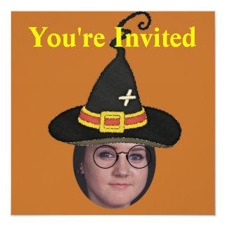 Fügen Sie Ihr Foto Zauberer Hut u. Gläser hinzu Quadratische 13,3 Cm Einladungskarte