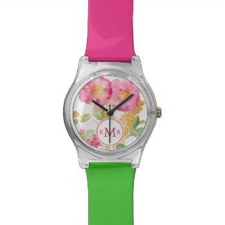 Fügen Sie Ihr weißes Gänseblümchen des Monogramm-| Armbanduhr