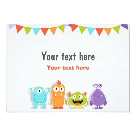 Fügen Sie Karte kleinen Monster-Tabellenzeichen 12,7 X 17,8 Cm Einladungskarte