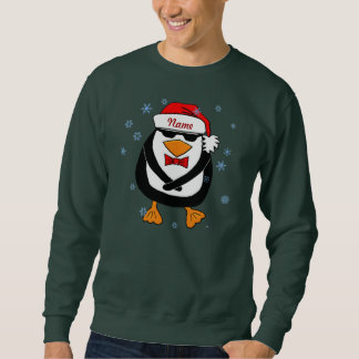 Fügen Sie Namen tanzendem WeihnachtsPinguin hinzu Sweatshirt