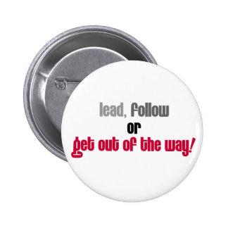 Führen Sie folgen oder verlassen einen Runder Button 5,7 Cm