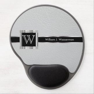 Führungskraft-Büro-Monogramm-hellgraues Leder Gel Mousepad
