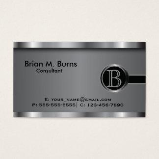 Führungskraft-schwarzes Stahlmonogramm Visitenkarten