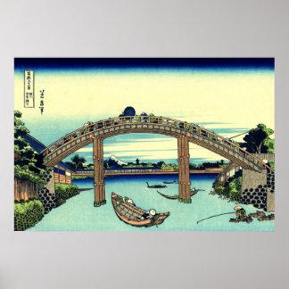 Fuji gesehen durch die Mannen Brücke bei Fukagawa Poster