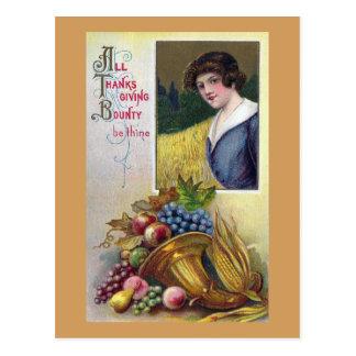 Fülle, Trauben und Dame Vintage Thanksgiving Postkarte