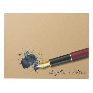 Füller-Füllfederhalter mit Tinten-Fleck - Notizblock
