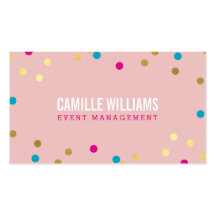 FUN BOLD COLORFUL confetti cool gold pink blue Business Card Template