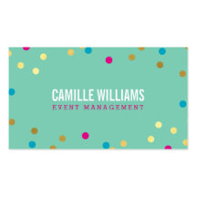 FUN BOLD COLORFUL confetti gold pink blue mint Business Card Template