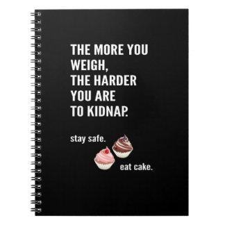 Fun Notizbuch. Anti-Diät. Kuchen, Süßigkeiten. Spiral Notizblock