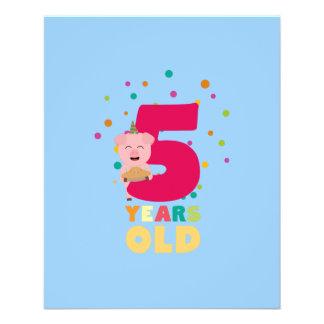Fünf des alten fünften Geburtstags-Jahre Flyer