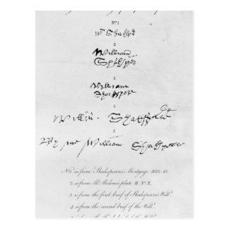 Fünf echte Autogramme von William Shakespeare Postkarte
