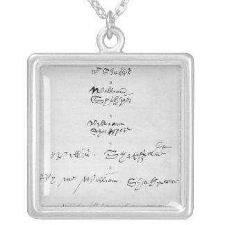 Fünf echte Autogramme von William Shakespeare Versilberte Kette