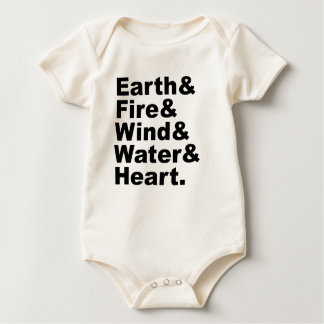 Fünf Erdfeuer-Wind-Wasser u. Herz der Element-| Baby Strampler