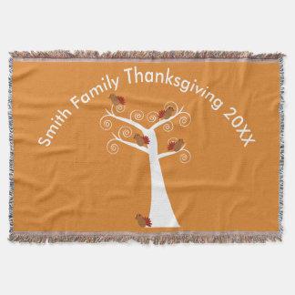 Fünf Erntedank-Truthähne in einem Baum Decke