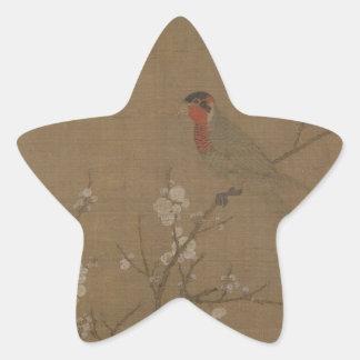 Fünf-farbiger Parakeet auf einem blühenden Stern Aufkleber