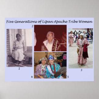 Fünf Generationen Lipan Apache der Stamm-Frauen Poster