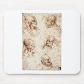 Fünf Karikaturköpfe durch Leonardo da Vinci Mousepads