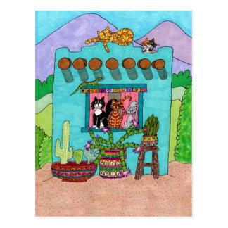 Fünf Katzen an einem Aqua-Adobe-Haus Postkarte