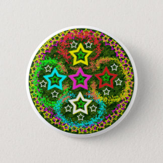 Fünf Sterne bunt Runder Button 5,7 Cm