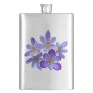 Fünf violette Krokusse 05,0, Frühlingsgrüße Flachmann