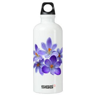 Fünf violette Krokusse 05,0, Frühlingsgrüße Wasserflasche